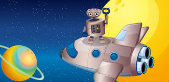 A robot above the spaceship in the outerspace Royalty Free Stock Images