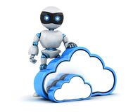 Robot and abstract cloud storage. 3d illustration Stock Photos