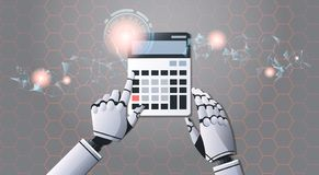 Robot accountant using calculator top angle view artificial intelligence digital futuristic technology concept. Horizontal vector illustration royalty free illustration