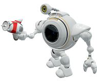 Robot in Action. A conceptual illustration of a white surveillance robot with a camera, carrying a detection device with an antennae royalty free illustration