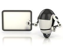 Robot affichant le panneau blanc Photos libres de droits