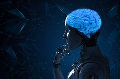 Robot with ai brain. 3d rendering robot with ai brain technology