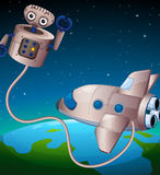 A robot and an aircraft at the outerspace Stock Images