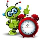 A robot and alarm clock Stock Photos