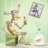 Robot-alcoolique illustration stock