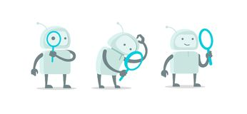 Robot alien character with magnifier loupe set. With magnifying glass search. Flat color vector illustration stock. Robot alien character with magnifier loupe vector illustration