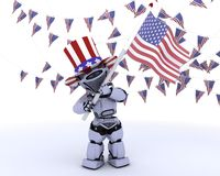 Robot with american flag. 3D render of a robot with american flag stock illustration