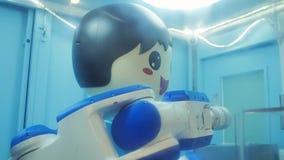 Robot amical qui donne la crème glacée  banque de vidéos