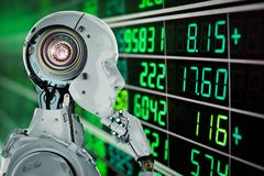 Robot analyze stock. 3d rendering humanoid robot analyze stock market stock photos