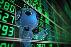 Robot analyze stock market royalty free illustration