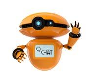 Robot anaranjado en el fondo blanco
