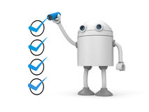 Robot And Green Checkmarks. Checklist Metaphor Stock Photo