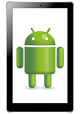 Robot androïde dans la tablette illustration de vecteur