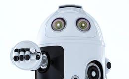 Robot androïde se dirigeant à vous. illustration libre de droits