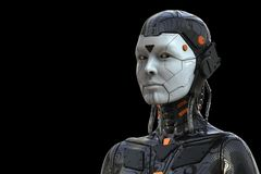Free Robot Android  Cyborg Woman Humanoid - Isolated In Black Background Royalty Free Stock Image - 148716886