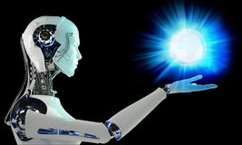 Robot android  with light Stock Photography