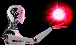 Robot android  with light Royalty Free Stock Images