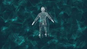 Abstract human form. 3D animation of male cyborg on a digital background with cybernetic particles