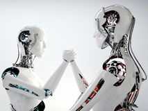 Robot android men competition Stock Photography