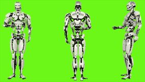 Robot android is presses the button. Realistic looped motion on green screen background. 3D Rendering. Robot android is presses the button. Realistic looped vector illustration