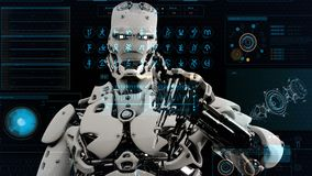 Robot android presses the keys on sci-fi screen. Realistic motion background. 3D Rendering. stock illustration