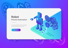 Robot Android retro Flat Isometric. Automation Tec stock illustration