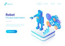 Robot Android retro Flat Isometric. Automation Tec. Robot Android retro style Flat Isometric illustration. Process Automation Business Technology Concept vector illustration