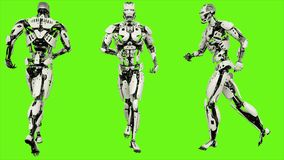 Free Robot Android Running. Realistic Motion On Green Screen. 3D Rendering. Royalty Free Stock Photo - 121758135