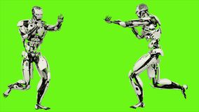 Free Robot Android Running With A Gun. Realistic Motion On Green Screen. 3D Rendering. Royalty Free Stock Photo - 121758175