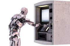 Robot android using an automatic teller machine for cash withdrawal. 3D illustration. Robot android using an automatic teller machine for cash withdrawal royalty free illustration
