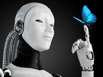 Robot android woman with butterfly Stock Photos