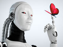 Robot android woman with butterfly Stock Photography