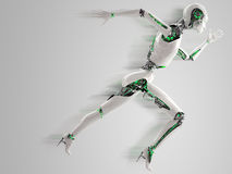 Robot android woman running Royalty Free Stock Photo