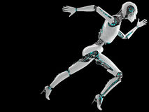 Robot android woman running. Speed concept Royalty Free Stock Image