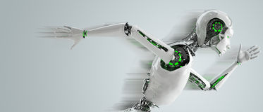 Robot android woman running. Speed concept Royalty Free Stock Photo