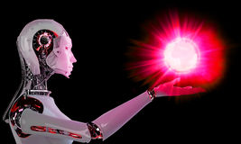Robot android women with light Stock Photos
