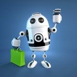 Robot androide con el bolso de compras. Foto de archivo libre de regalías
