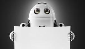 Robot androide que lleva a cabo a un tablero en blanco imagen de archivo