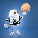 Robot androide que sostiene el cerebro imágenes de archivo libres de regalías