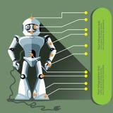 Robot argenté de humanoïde montré en tant qu'infographic Image stock