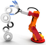 Robot arm build Technology growth gear. Robotic arm to find and choose best Technology job search solution royalty free illustration