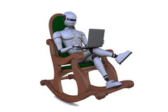Robot in an arm-chair with a notebook Royalty Free Stock Image