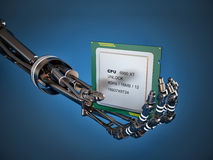 Robot arm with Chip or processor. High technology Royalty Free Stock Photos