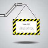 Robot arm and empty board for text Stock Image