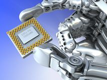 Robot arm with fantasy Chip or processor Stock Photo