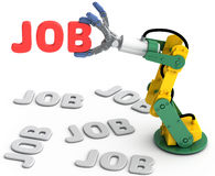 Robot arm find best Technology job. Robotic arm to find and choose best Technology job search solution Stock Image