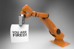 Robot arm firing human 3d Illustration Royalty Free Stock Image