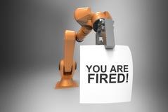 Robot arm firing human 3d Illustration Royalty Free Stock Photos