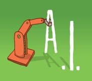 Robot arm grabbing artificial intelligence acronym. Cartoon illustration of robot arm setting artificial intelligence acronym