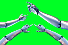 Robot arm. On a green background stock illustration